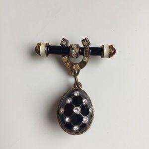 Faberge Egg Black Enamel Vintage Brooch